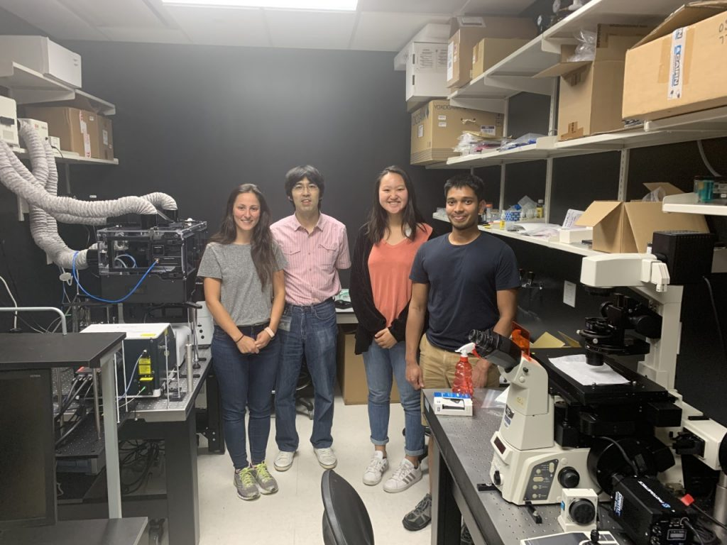 4 people in microscope room
